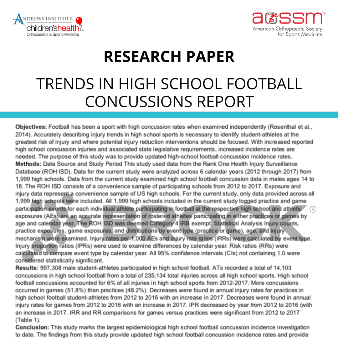 Trends in High School Football Concussions