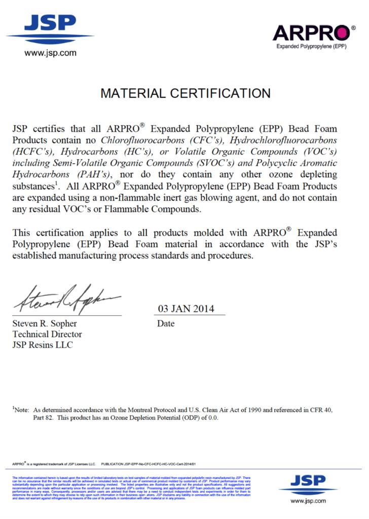 Brock USA's JSP Material Certification