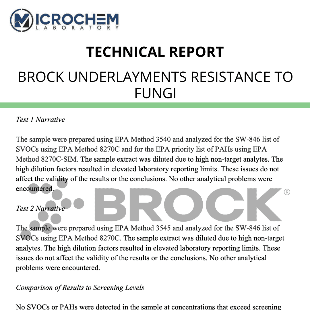 Brock underlayments resistance to fungi ASTM G21