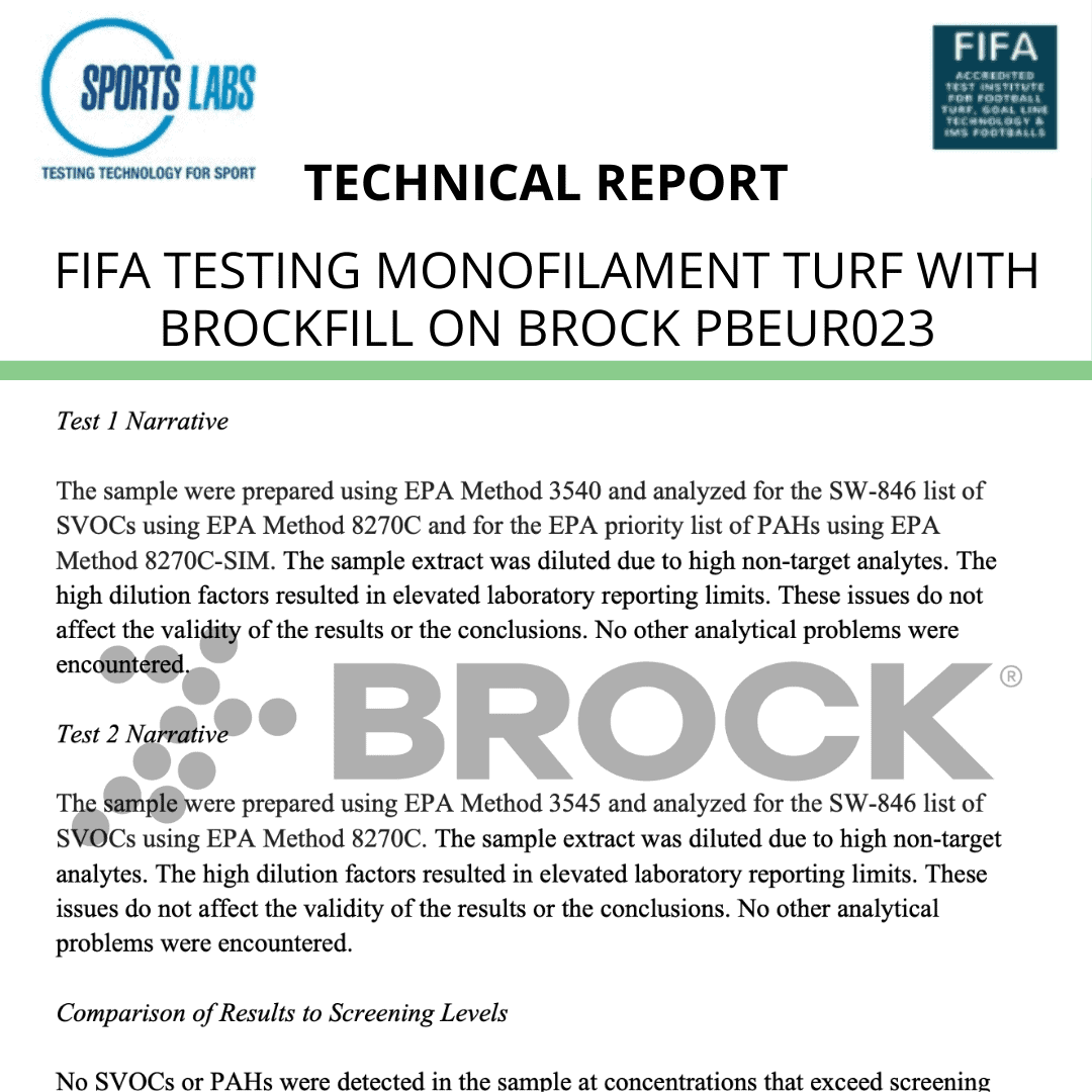 FIFA Testing, Monofilament Turf with BrockFILL on Brock Europe Shock Pad – Sport Technical Report