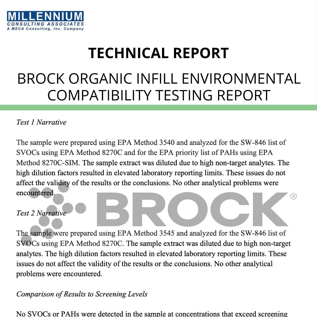 Brock Organic Infill Environmental Compatibility Testing – Report