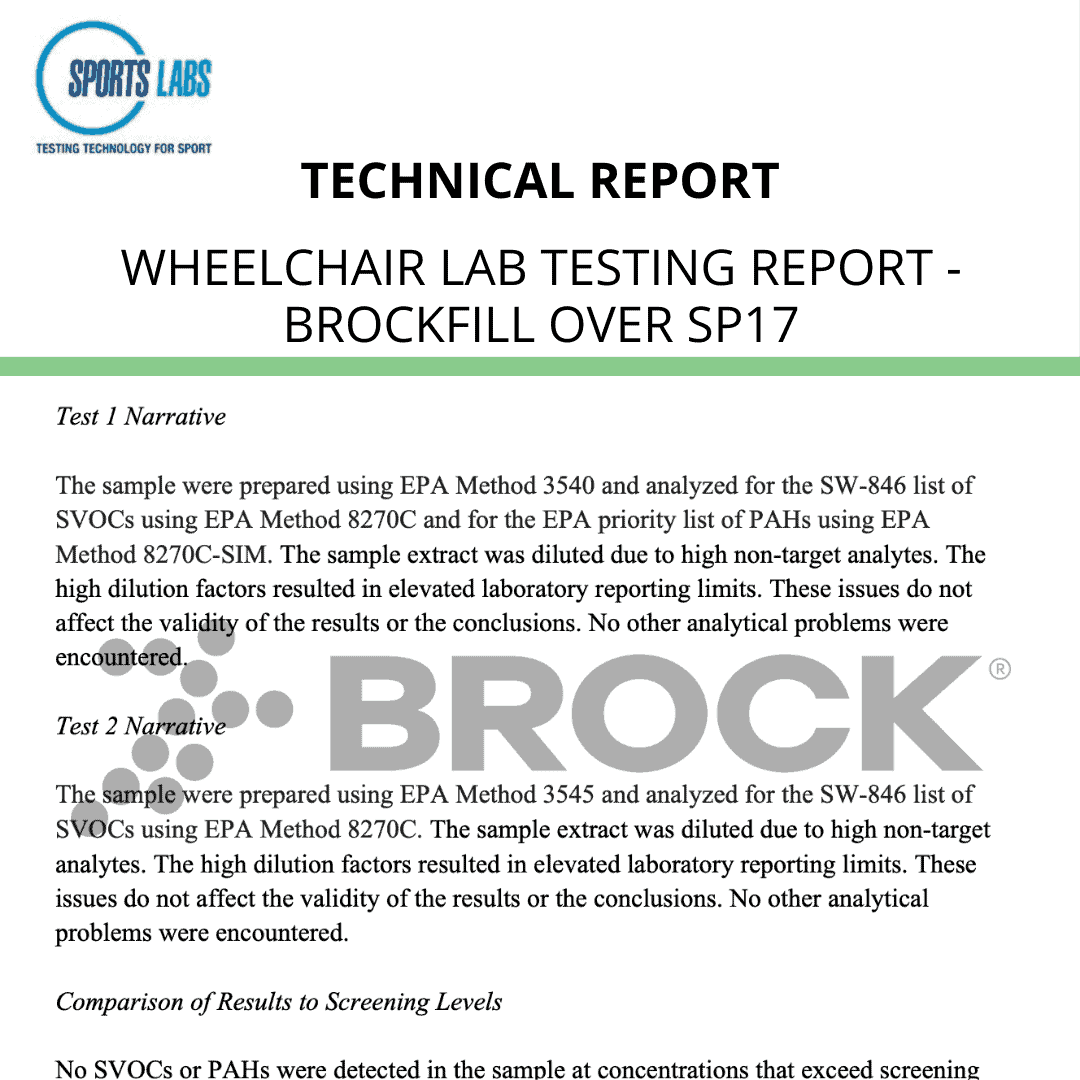 Wheelchair Lab Testing Report – BrockFill over SP17