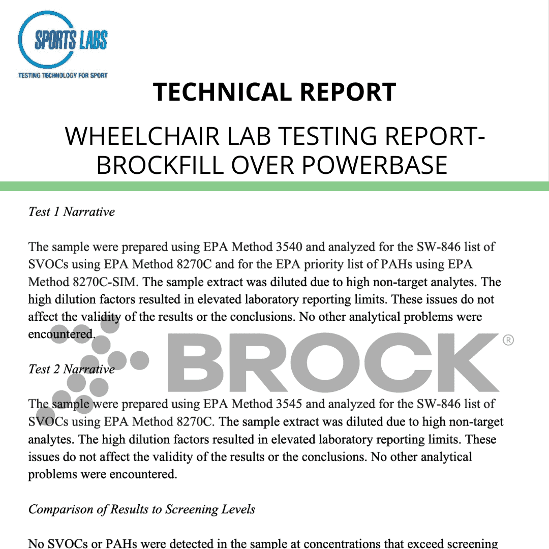 Wheelchair Lab Testing Report- BrockFill over PowerBase