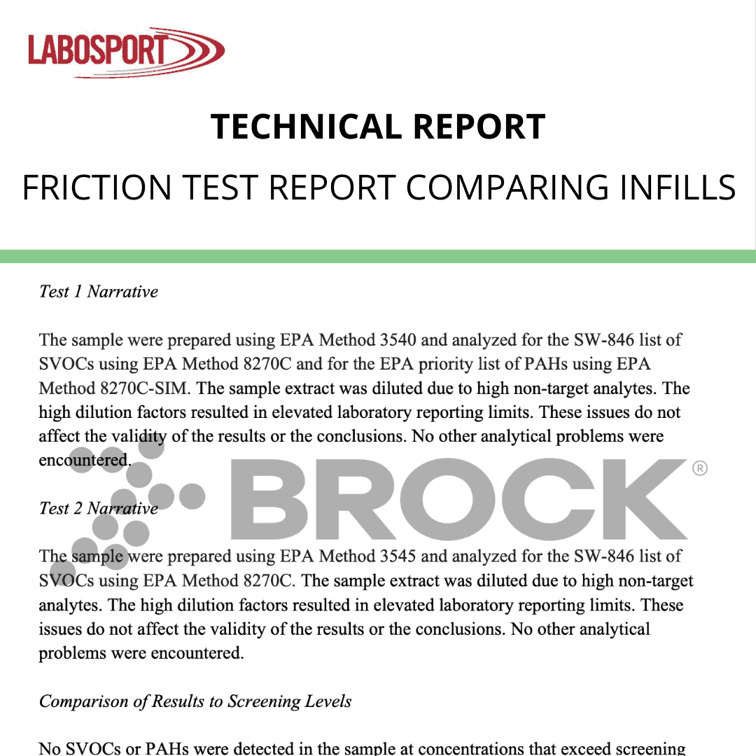 Friction Test Report Comparing Infills