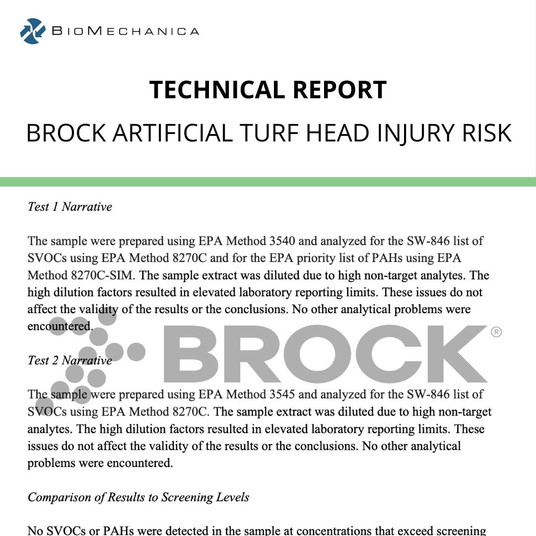 Brock Artificial Turf Head Injury Risk