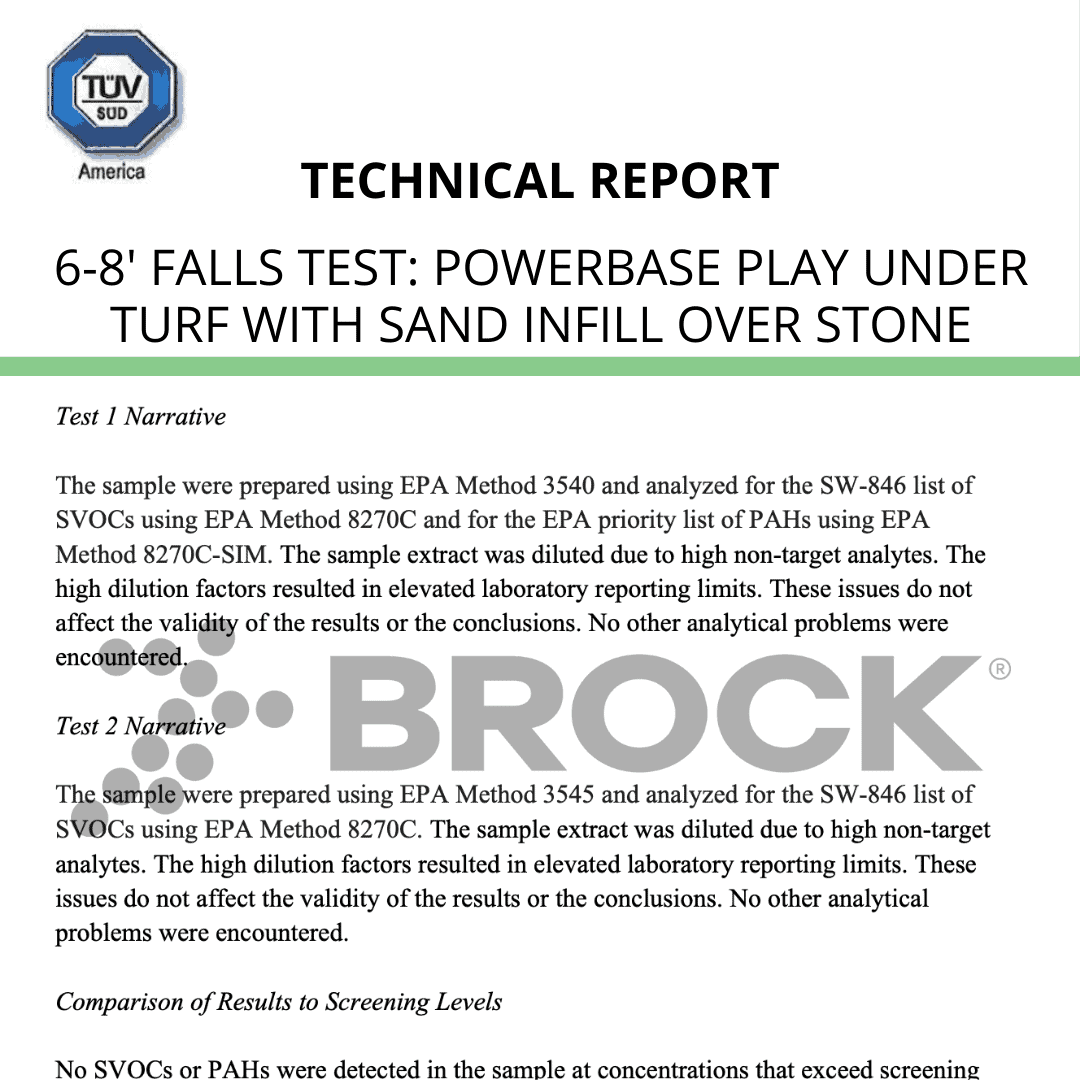 TUV-IPEMA Test Report 6-8′ falls – PowerBase PLAY under turf with sand infill over stone