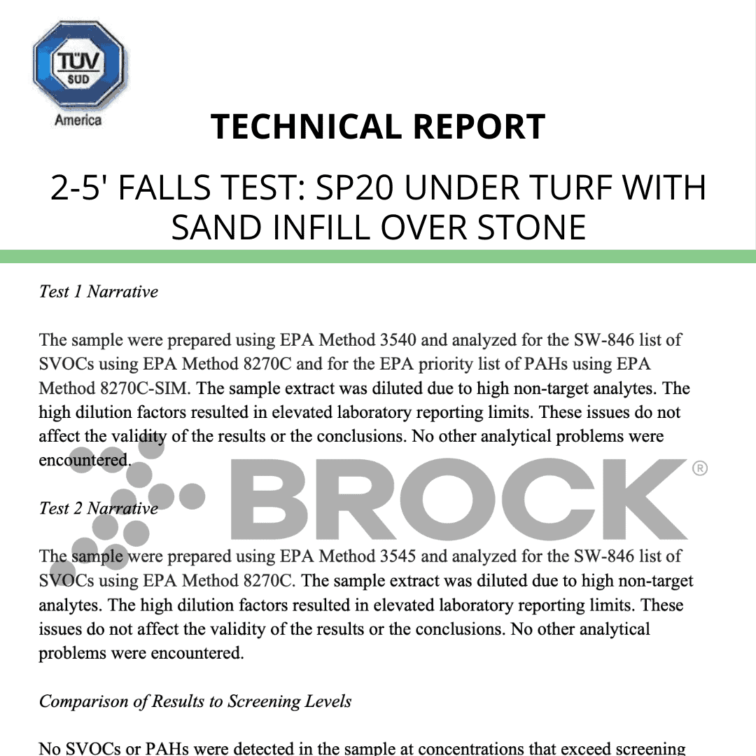 TUV-IPEMA Test Report 2′-5′ falls – SP20 under turf with sand infill over stone