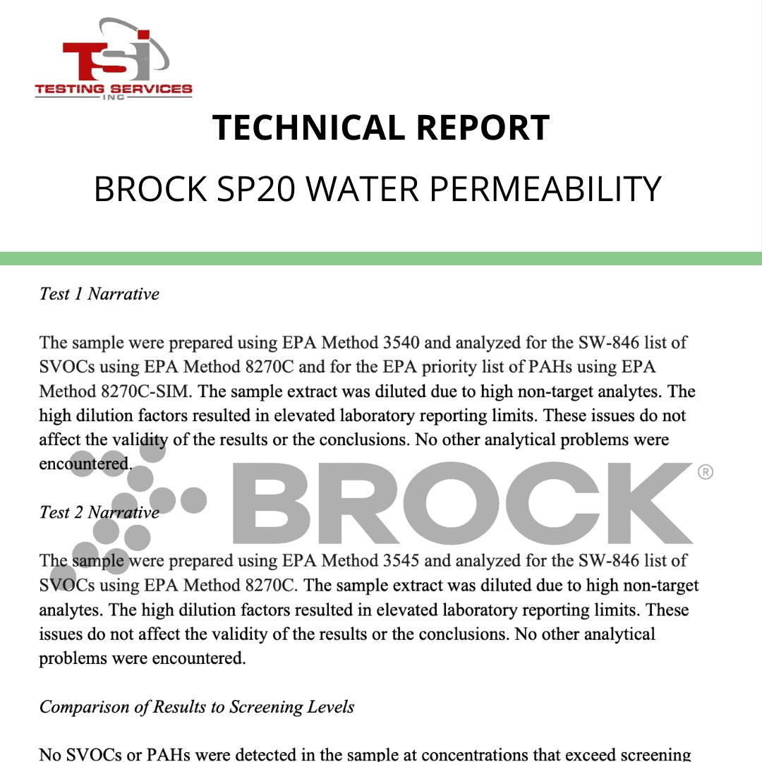 Brock SP20 Water Permeability ASTM F1551 DIN 18035