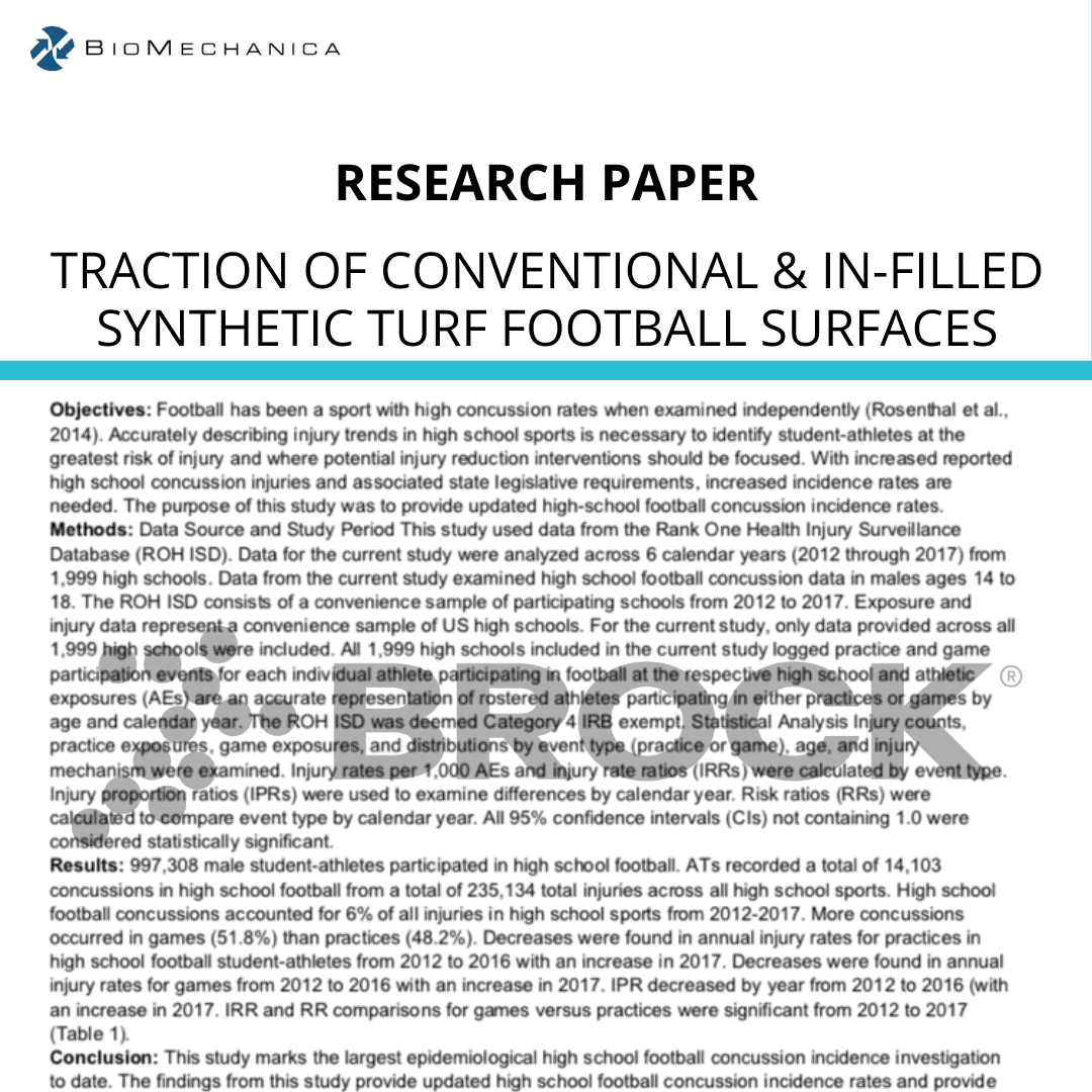 SHOE-SURFACE TRACTION OF CONVENTIONAL & IN-FILLED SYNTHETIC TURF FOOTBALL SURFACES
